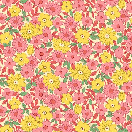 """Nana Mae II"" Pink/Yellow Large Daisy 1930's Collection from Henry Glass"