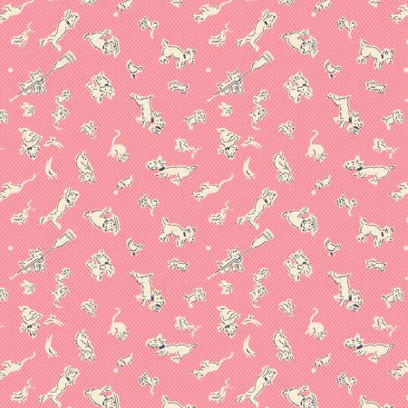 Pink Dogs & Animals-Lazy Days by Kaye England Collection from Wilmington Prints