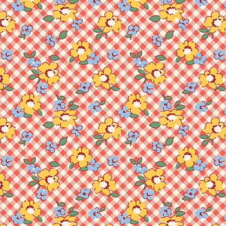 Red Gingham Floral-Chicken Scratch by Kaye England from Wilmington Prints