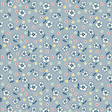 Tan/Blue Flowers & Dots-Chicken Scratch by Kaye England from Wilmington Prints