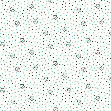 """Turquoise Flowers on Dots 1930's""- Playing With Shadows by Zimmerman, Darlene for Robert Kaufman"