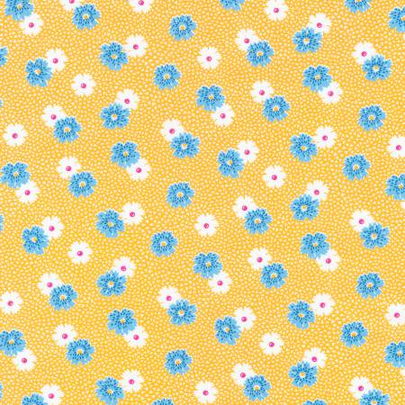 """Windowsill Garden""- Screamin' Yellow Flowers 1930's Reproduction Print by Darlene Zimmerman for Robert Kaufman"