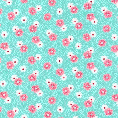 """Windowsill Garden""- Pond Flowers 1930's Reproduction Print by Darlene Zimmerman for Robert Kaufman"