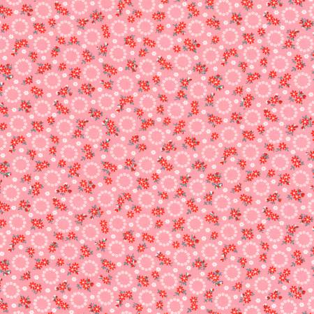 """Windowsill Garden""- Camellia Floral Circles 1930's Reproduction Print by Darlene Zimmerman for Robert Kaufman"