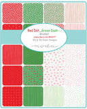 Red Dot Green Dash Brushed Fat Eighth Bundle by Me and My Sister Designs for Moda