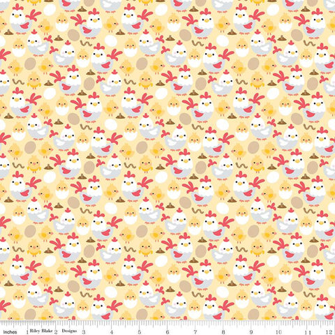 """Down on the Farm"" Chickens Yellow by Doodlebug Design Inc."
