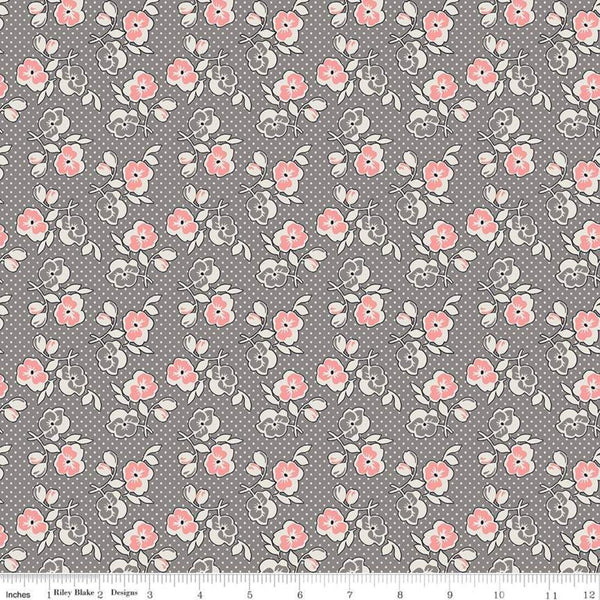 """Lemonade Sundae""  Lemonade Sundae Floral Gray by Leonie Bateman for Penny Rose Fabrics"