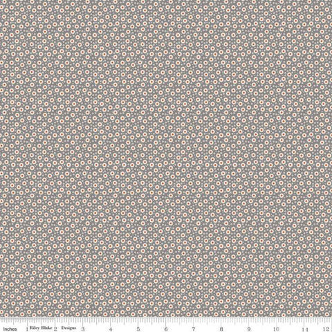 """Lemonade Sundae""  Lemonade Sundae Cogwheel Floral Gray by Leonie Bateman for Penny Rose Fabrics"