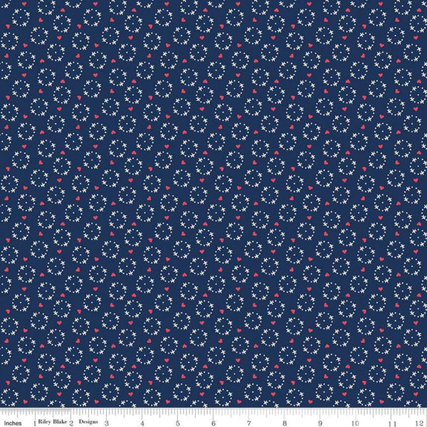 """Gretel"" Gretel Wreath Navy by Amy Smart for Penny Rose Fabrics"
