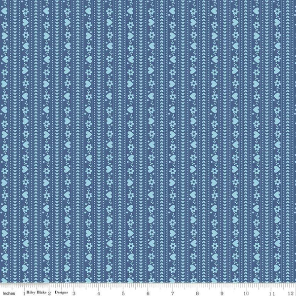 """Gretel"" Gretel Stripe Blue by Amy Smart for Penny Rose Fabrics"