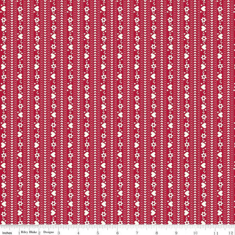 """Gretel"" Gretel Stripe Red by Amy Smart for Penny Rose Fabrics"