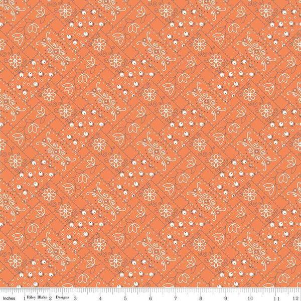 """Farm Girl Vintage""-  Vintage Bandana Orange by Lori Holt of Bee in My Bonnet for Riley Blake"