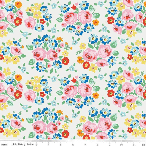 """Bluebirds on Roses""-Main Cream by Elea Lutz for Penny Rose Fabrics"
