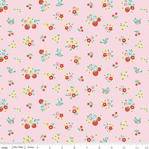 """Bluebirds on Roses""-Floral Pink by Elea Lutz for Penny Rose Fabrics"
