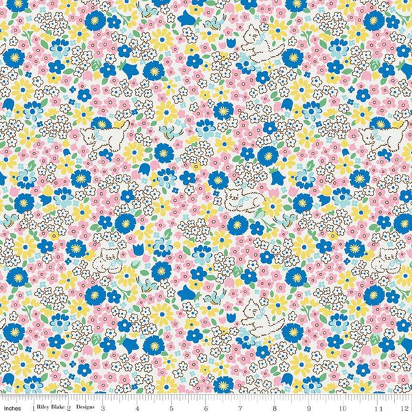 """Bluebirds on Roses""-Kitty Blue by Elea Lutz for Penny Rose Fabrics"