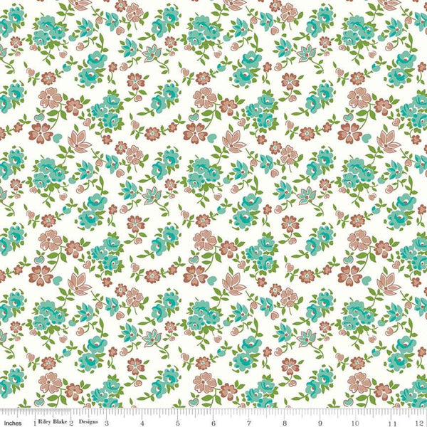 """Granny Chic""- Sheets Teal by Lori Holt of Bee in My Bonnet for Riley Blake"