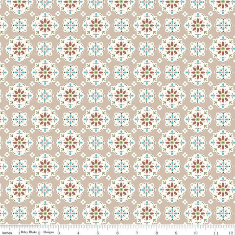 """Granny Chic""- Wallpaper Brown by Lori Holt of Bee in My Bonnet for Riley Blake"