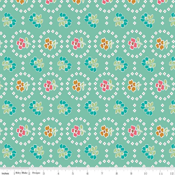 """Granny Chic""- Curtains Teal by Lori Holt of Bee in My Bonnet for Riley Blake"