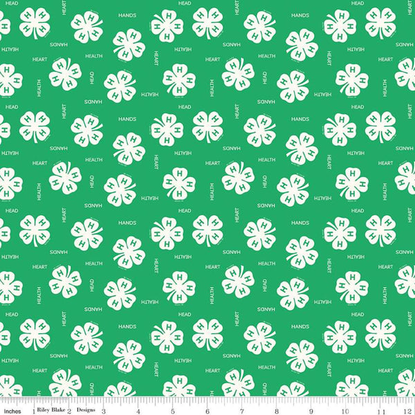 """4-H""-4-H Clovers Green for Riley Blake"