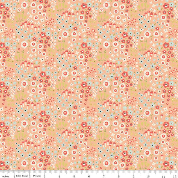 """Woodland Spring""- Wild Flowers Peach by Design by Dani for Riley Blake"