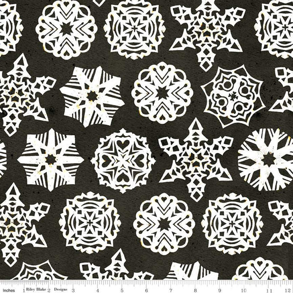 """Snow Sweet"" Paper Snowflakes Charcoal from Jill Wecker-Frisch for Riley Blake"