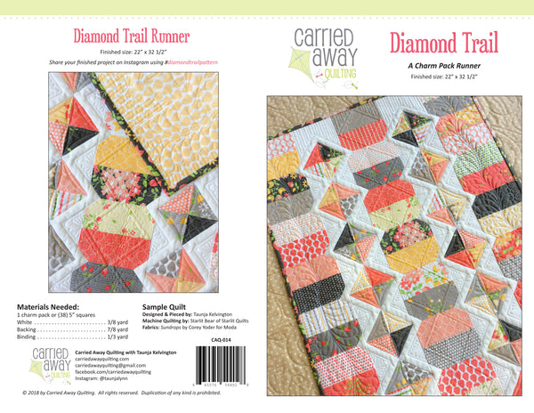 Diamond Trail Runner Pattern by Taunja Kelvington of Carried Away Quilting