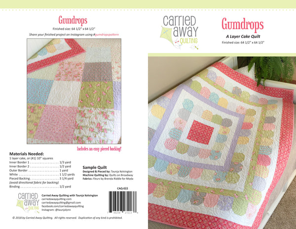 Gumdrops Quilt Pattern by Taunja Kelvington of Carried Away Quilting