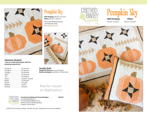 Pumpkin Sky Pattern by Taunja Kelvington of Carried Away Quilting