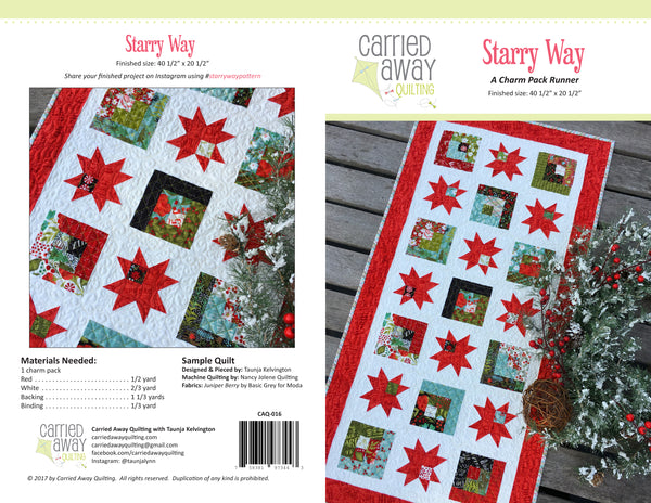 Starry Way Runner Pattern by Taunja Kelvington of Carried Away Quilting