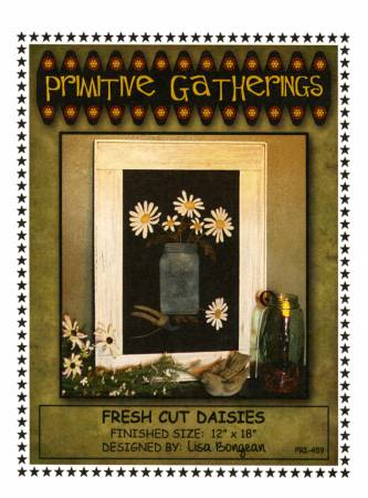 Primitive Gatherings-Fresh Cut Daisies Kit with Background Fabric