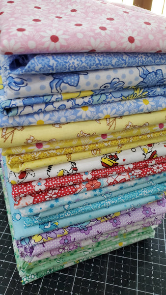 """Nana Mae III"" FAT QUARTER BUNDLE 24 Pieces- 18""x22"" cuts by 1930's Collection from Henry Glass"