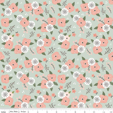 """Modern Farmhouse""-Modern Farmhouse Floral Sage Sparkle for Riley Blake"