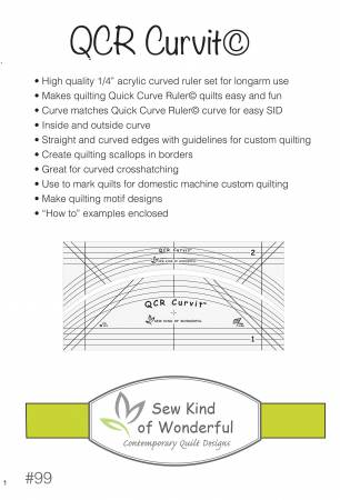 QCR Curvit Ruler for Longarm Quilting by Sew Kind Of Wonderful