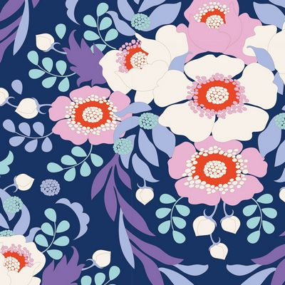 """Bird Pond""-Anemone Night Blue by Tone Finnanger for Tilda"