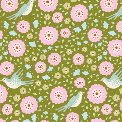 """Bird Pond""-Lovebirds Green by Tone Finnanger for Tilda"