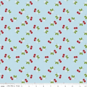"""Sew Cherry 2"" Cherry Aqua by Lori Holt of Bee in My Bonnet for Riley Blake"