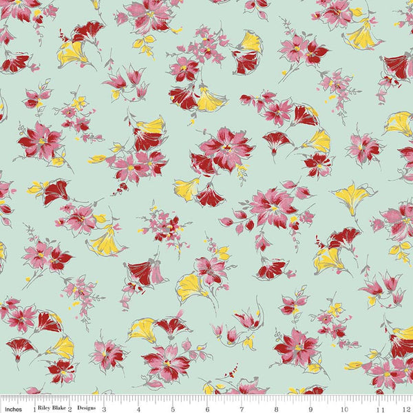 """Lily"" Main Mint by Sue Penn for Penny Rose Fabrics"
