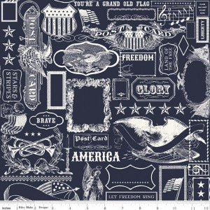 """Americana Main Navy""-Lost & Found America by Jen Allyson for Riley Blake"