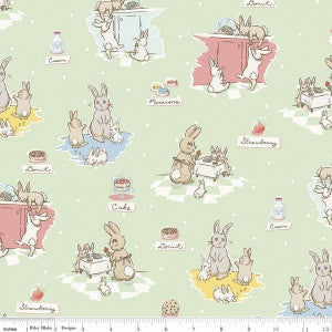 """Main Mint""-Bunnies & Cream by Lauren Nash for Penny Rose Fabrics"
