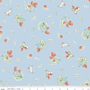 """Strawberry Blue""-Bunnies & Cream by Lauren Nash for Penny Rose Fabrics"