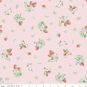 """Strawberry Pink""-Bunnies & Cream by Lauren Nash for Penny Rose Fabrics"