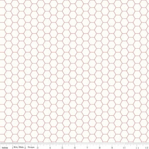 """Bee Backgrounds""-  Backgrounds Honeycomb Red by Lori Holt of Bee in My Bonnet for Riley Blake"