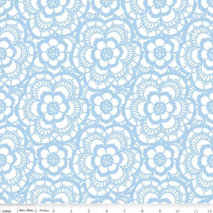"""Carolina Lace White""-Blue Carolina by Christopher Thompson, The Tattooed Quilter for Riley Blake"