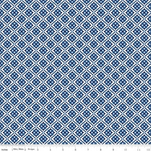 """Carolina Tile White""-Blue Carolina by Christopher Thompson, The Tattooed Quilter for Riley Blake"