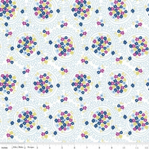 """Carolina Cluster White""-Blue Carolina by Christopher Thompson, The Tattooed Quilter for Riley Blake"