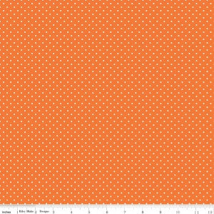 """White Swiss Dot on Orange""-Swiss Dots by Riley Blake Designs for Riley Blake"