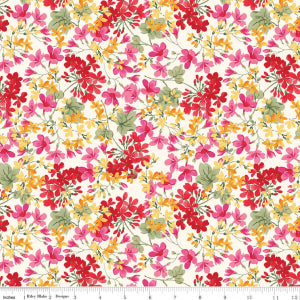 """Farmhouse Floral"" Cream Farmhouse Floral by Nancy Zieman for Penny Rose Fabrics"