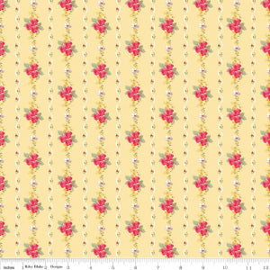 """Farmhouse Floral"" Yellow Farmhouse Stripe by Nancy Zieman for Penny Rose Fabrics"