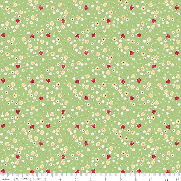"""Bake Sale 2""-  Green Bake 2 Strawberry by Lori Holt of Bee in My Bonnet for Riley Blake"