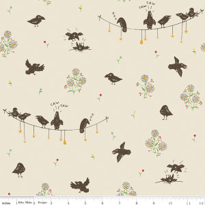 """Calico Crow"" Crowded Cream by Lauren Nash for Penny Rose"